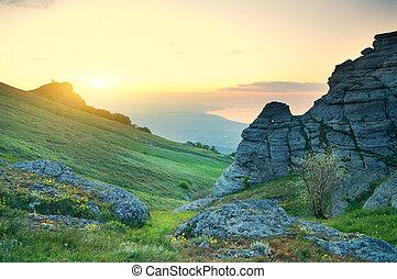 berg, morgen, landschap.