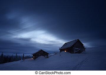 berg, nacht, landschaftsbild, dorf