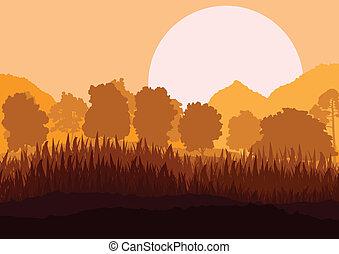 berg, natur, plakat, szene, abbildung, vektor, wald,...