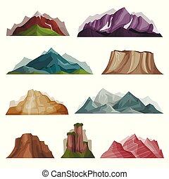 berg, natuur, set, massif, silhouettes, vector, variëteit,...