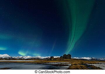 berg, noordelijk, borealis, licht, dageraad, iceland., verbazend
