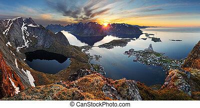 berg, norway., panorama, natur, sonnenuntergang, landschaftsbild