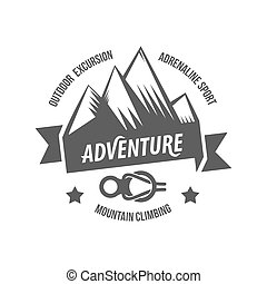 berg, ontdekkingsreiziger, ouderwetse , etiketten, logo,...