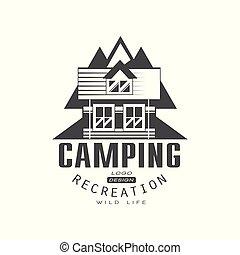 berg, ontspanning, buiten, kamperen, meldingsbord, ouderwetse , symbool, leven, illustratie, vector, exploratie, avontuur, achtergrond, logo, wild, black , witte , ontwerp