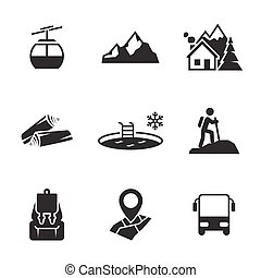 berg, ontspanning, iconen
