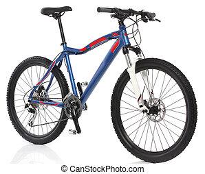 berg, op, fiets, witte achtergrond