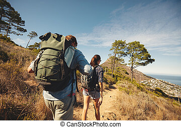 berg, paar, junger, wandern