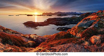 berg panorama, -, oceaan, ondergaande zon , noorwegen