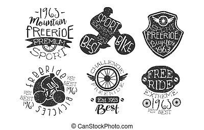 berg, premie, getrokken, set, etiketten, illustratie, hand, freeride, vector, retro, monochroom, fiets, sportende, kentekens, extreem