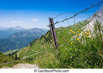 berg, prikkeldraadomheining, groen landschap