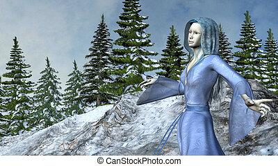 berg, prinsesje, elf, in, zwaaiende , blauwe kleding