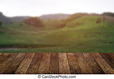 berg, product, beeld, bovenzijde, montage., hout, achtergrond, verdoezelen, tafel, display