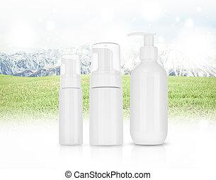 berg, product, schuim, shampoo., panorama, schoonheidsmiddel, sneeuw groen, room, gras, landscape