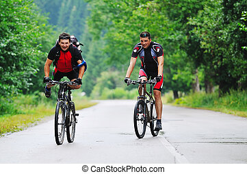 berg, reizen, fiets, vriendschap