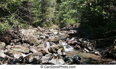 berg, river., water, motie, dichtbij, de, stenen
