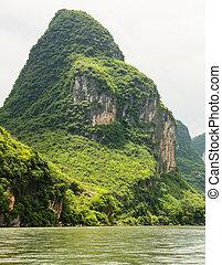berg, rivier, china, karst, li