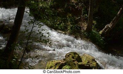 berg, rivier, met, rapids