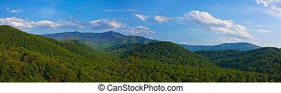 berg, rokerig, panorama