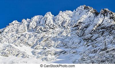 berg, rotsachtig, piek, winter