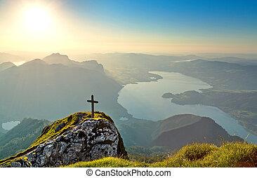 berg, salzkammergut, panorama