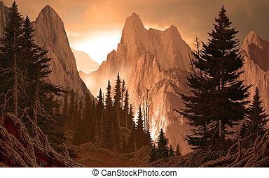 berg, schlucht, rockies