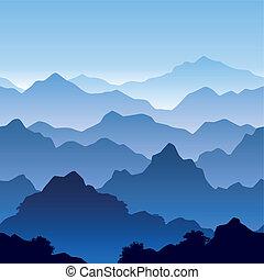 berg, seamless, landschaftsbild