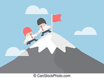 berg, seine, hilfe, erreichen, oberseite, geschäftsmann, freund