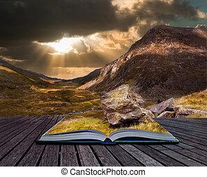 berg, seiten, dramatisch, sonnenuntergang, buch, landschaftsbild, launisch