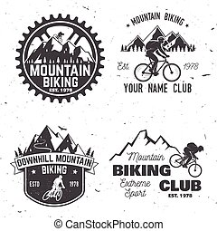 berg, set, illustration., clubs., vector, biking