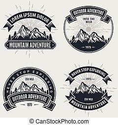 berg, set, logos, ouderwetse , etiketten, kentekens, avontuur, emblems., of