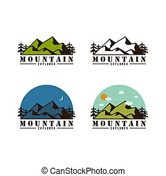 berg, set, meldingsbord, bos, vector, avontuur, badge, logo, pictogram