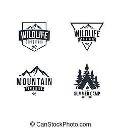 berg, set, ontdekkingsreiziger, vector, black , avontuur, ontwerp, witte , badge