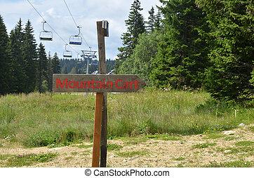 berg, signboard, kar