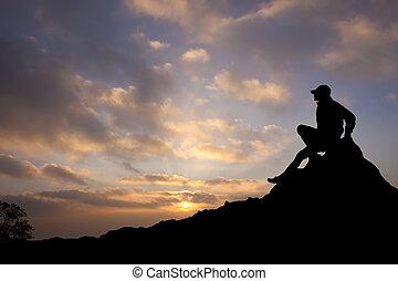 berg, silhouette, man