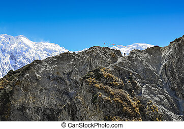 berg, silhouette, rotsgebergte, himalayas, trekker