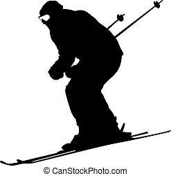 berg, silhouette, slope., unten, vektor,...