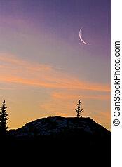 berg, silhouetten, sonnenaufgang