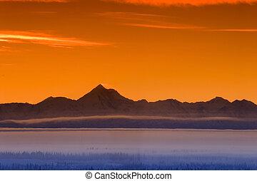 berg, skyline, morgen