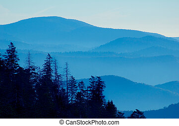 berg, sonnenuntergang