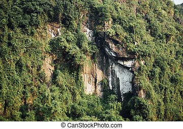 berg, spektakulär, Bäume, Gesicht, hintergrund, grün,  asia, gestein