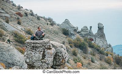 berg, steen, demerdji, man