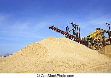 berg, steinbruch, sand, aufbau- maschinerie, bestand