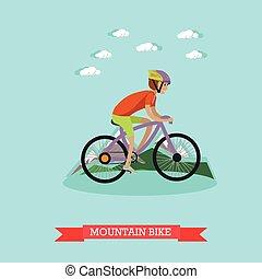 berg, stijl, plat, jongen, illustratie, vector, fietsende