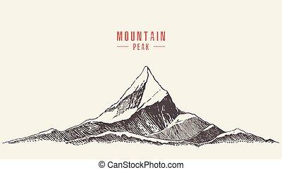 berg, stil, abbildung, hand, vektor, gezeichnet, logo