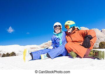 berg, superski, vacation., paar, itlay, dolomiti