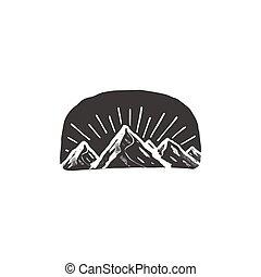 berg, symbool, badge