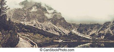berg, tatras, meer, hoog, slowakije