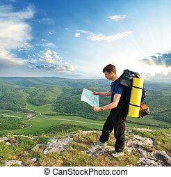 berg, toerist, man