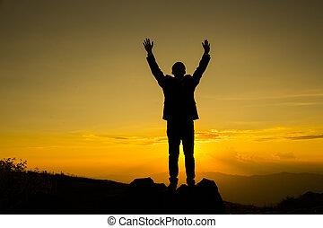 berg, tonen, na, twee, hand, piek, gaan, busineesman