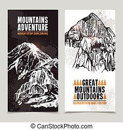 berg, tourismus, 2, senkrechte banner